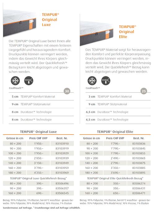 tempur matratze original luxe g nstig kaufen mit tiefpreis. Black Bedroom Furniture Sets. Home Design Ideas